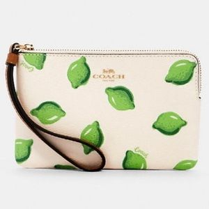 COACH authentic leather lime print small wristlet
